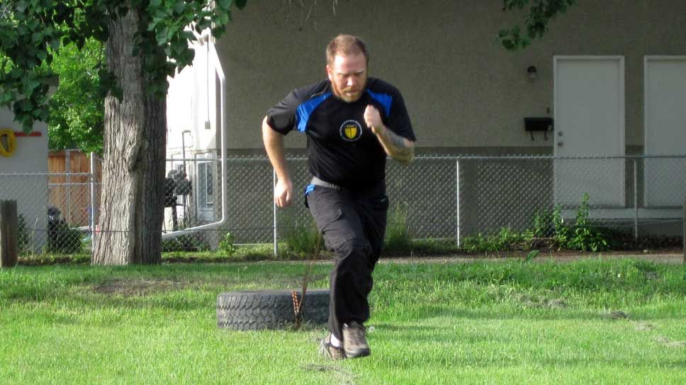 Training for combat - with tire pull